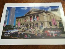 awesome vintage 90's print of art institute of Chicago opening day,chicago bulls