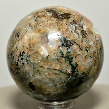 39mm Green Orange Moss Agate Sphere Natural Polished Crystal Ball Mineral Stone