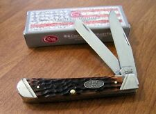 CASE XX New Brown Jigged Bone Handle 2 Blade Trapper Knife/Knives