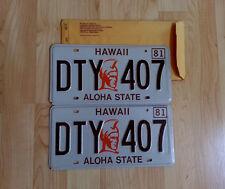 1981 HAWAII LICENSE PLATES MINT SET +ENVELOPE KING KAMEHAMEHA NUMBER TAG DTY 407