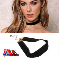 UK VINTAGE HANDMADE BLACK VELVET CLASSIC PLAIN CHOKER CHARM GOTH NECKLACE HOT