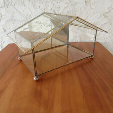 """Brass & Glass Curio Miniature Display Case Etched Ball Feet House Shape 12"""" x 7"""""""