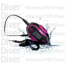 Waterproof MP3 Player. LCD. Swim. FM Radio. With Headphones. USB IPX8 4GB Pink.