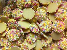 250g WHITE CHOCOLATE JAZZIES - SNOWIES - WHITE RAINBOW DROPS - 250g