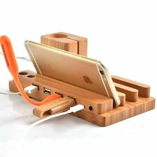 3-in-1 Bamboo Desk Stand Holder Charge Dock Station For Apple Watch iPhone iPad