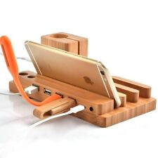 3-in - 1 bamboo da tavolo supporto dock di ricarica Stazione Per Apple Watch iPhone iPad
