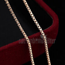 18K Plain Rose GOLD FILLED Lady Girls Dainty BOX CHAIN NECKLACE FOR PENDANT 50cm