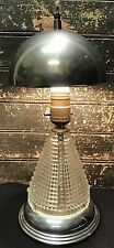 Antique Art Deco 20s 30s Chrome & Cut Glass Desk Lamp Table Light SPACESHIP RARE