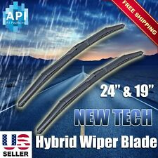 "Hybrid Windshield Wiper Blades silicone Bracketless J-HOOK OEM QUALITY 24"" & 19"""