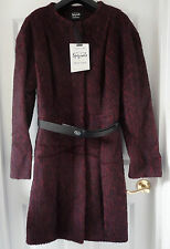 M&S Per Una Speziale Virgin Wool Blend Collarless Coat with Belt, SZ 18, BNWT