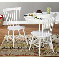 Spindle Back Kitchen Chairs Set Of 2 Wood White Cottage Windsor Farmhouse Dining
