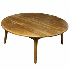 Rustic Upcycled Mid Century Pine Occasional Low Circular Coffee Table Post-1950