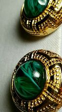 CHRISTIAN DIOR Vintage Emerald Green Gripiox Gold Earrings   Egyptian Revival
