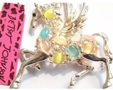 Cute NWT Betsey Johnson Necklace Pegasus Gold Colorful Beautiful .