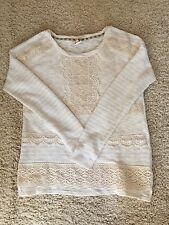 Anthropologie Crocheted Heirloom Pullover By one.september, Small Ivory RARE