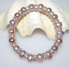GORGEOUS GENUINE MAUVE FRESHWATER PEARL AND CRYSTAL SPACER BRACELET