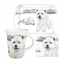 Westie Teatime Mug, Coaster and Tray Gift Set - West Highland White Terrier