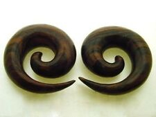 "PAIR LARGE SONO WOOD 1"" 1/4 INCH 32MM SPIRALS PLUGS TALONS 2"" 3/4 INCH DIAMETER"
