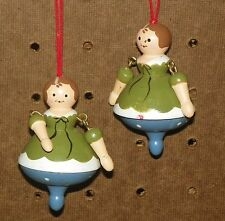 VINTAGE WOODEN DANCING LADY SPINNING TOPS SET OF TWO