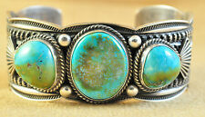 Navajo Sterling Silver Blue Moon Turquoise Tri Stone Cuff Bracelet Andy Cadman
