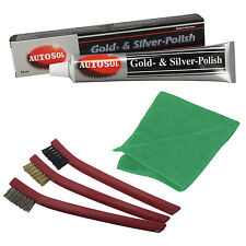 Solvol Autosol GOLD SILVER Metal Cleaner Polish + 3 pcs Detailing Brush & Cloth
