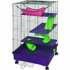 Deluxe Multi-Level Pet Home with Casters, Ferret Cage, Rat Condo, Ramps Shelves