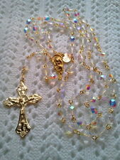 CLEAR CRYSTAL AB ROSARY -18K GOLD PLATED - MADE IN THE CZECH REPUBLIC