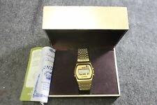 NOS New Sundial Red LCD Chrono Calendar Gold Tone Watch Full Set