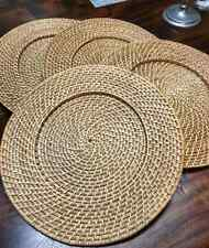 4 Rattan Plate Chargers Placemats Pottery Barn? Bx2