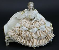 Antique Dresden German Porcelain Victorian Lady w/ Lace Frill Dress Figurine ALB