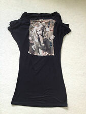 RELIGION TOP SIZE 10 BLACK WITH PHOTO DESIGN GIRL ON FRONT.