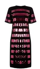 Stunning Warehouse Black Dress Pink Sequin Detail Size 8 New With Tags