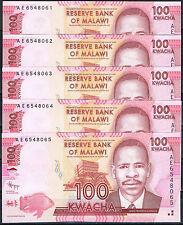 MALAWI - LOTE 5 BILLETES 100  KWACHA 2012 Pick  Nuevo   S/C  UNC