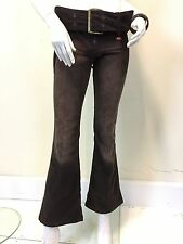 Miss Sixty Ladies Brown Low Rise Cord Bootcut Flare Trousers Waist 28 UK Size 10