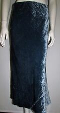 "LADIES SKIRT SIZE 10 MARKS & SPENCER PER UNA TEAL 35"" LENGTH CRUSHED VELVET"
