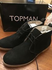 Topman Black Faux Suede Desert Chukka Boots US Size 8 (New With Box)