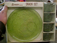 BS6 Vintage NOS Soreno Anchor Hocking Fire King Avocado Glass 8 piece snack set