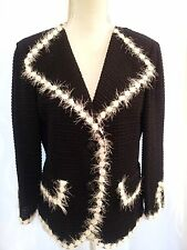 NEW ST JOHN KNIT $1,695 BLACK & WHITE UNIQU E TRIM STUNNING JACKET CARDIGAN sz M