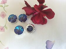 4 Swarovski Vintage Sew 14mm Ultra Purple Crystal AB GF round CRAFTPost Free  UK
