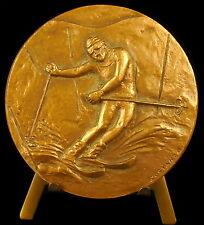 Medaille sport ski skieur Costanzo vue d'un glacier montagnes Alpes skier medal
