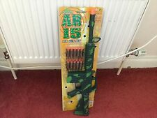 KIDS TOY AR 15 ARMY GREEN CAMOFLAUGE TARGET RIFLE GUN SUCTION DARTS FANCY DRESS