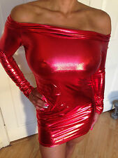Sexy Bodycon Clubwear RED Metallic Long Sleeved OFF The Shoulder Dress L