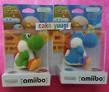 LOT AMIIBO YOSHI LAINE YARN WOOLLY WORLD GREEN + BLUE  NINTENDO