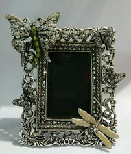 KIRKS FOLLY UNUSUAL BUTTERFLY  DRAGONFLY JEWELED FRAME FAIRY ENAMEL PICTURE