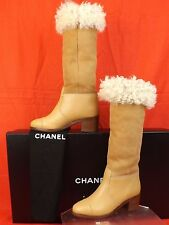 15B NIB CHANEL BEIGE LEATHER SUEDE CC LOGO SHEARLING TALL  BOOTS 37.5 $1825