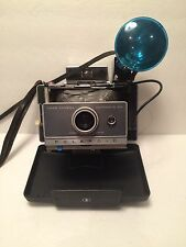 VINTAGE POLAROID LAND CAMERA AUTOMATIC 100 WITH EXTERNAL FLASH AND CARRYING CASE