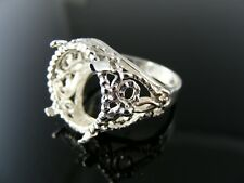 5508  RING SETTING STERLING SILVER, SIZE 6.5, 15 MM ROUND STONE