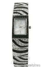 New Elgin Women Two Tone Black Crystals Mother Of Pearl Watch 17 x 25 mm EG8094