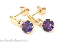 9ct Gold 4mm Amethyst drop Earrings Made in UK Gift Boxed