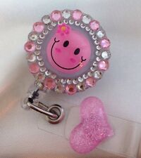 Retractable Reel Bling ID Badge Holder handmade Pink Flower Rhinestones bling
